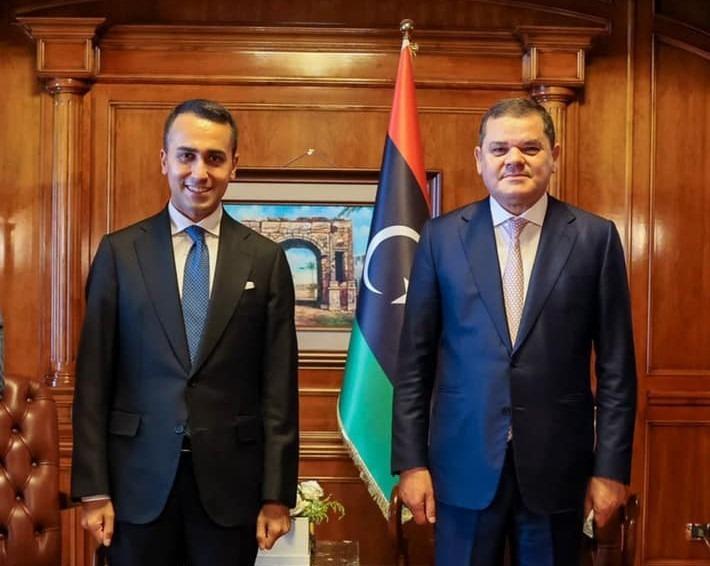 Dbeibah with Italian Foreign Minister Luigi Di Maio