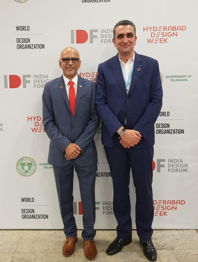 Hicham Lahlou with Srini Srinivasan, 2019-2021 WDO President