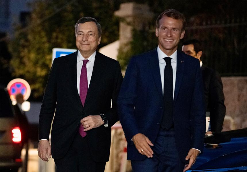 Draghi and President Macron in Marseille